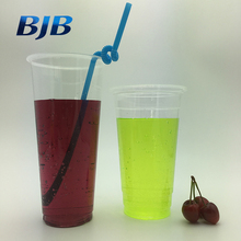high quality custom logo clear hard plastic cup with lid and straw