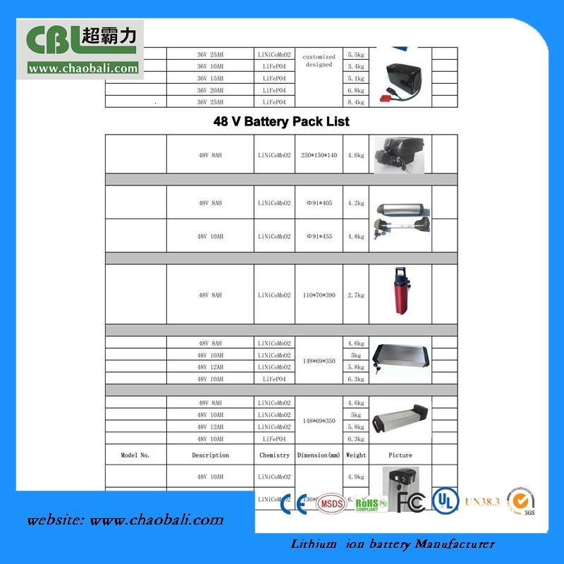 CBL li-ion 48V QT 2017 v 10Ah dolphin type rechargeable ebike battery with high power