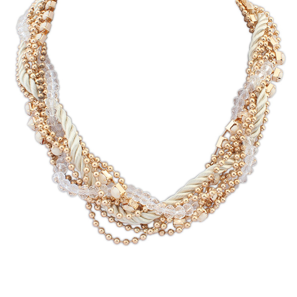 White colored velvet ribbon necklace gold plastic bead necklaces wholesale crystal indian seed bead necklace PN2569