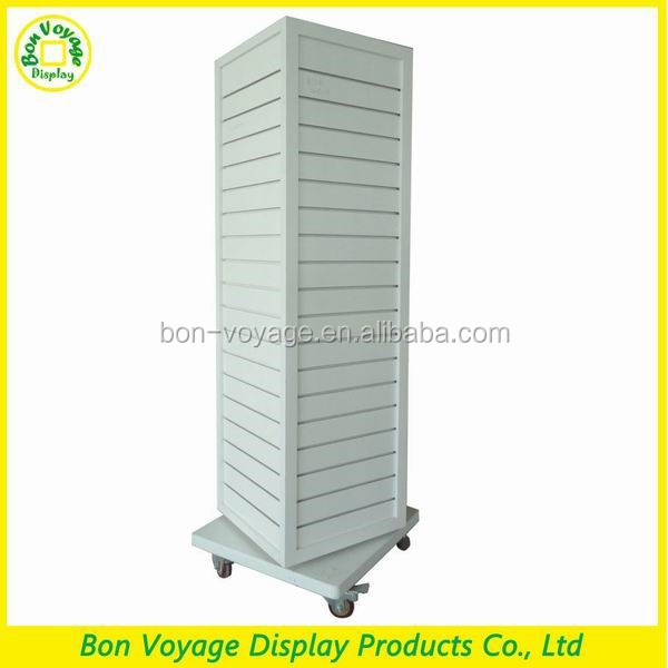 customized retail hanging rotating slatwall wood floor display stand with wheels