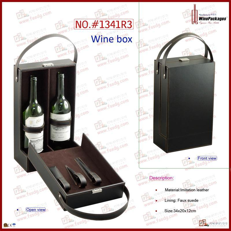 Leather wine bottle case with wine set save bag,wine box with top carry handle
