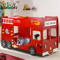 kids fire engine bunk bed E1 MDF board lovely car shape bed children bedroom furniture
