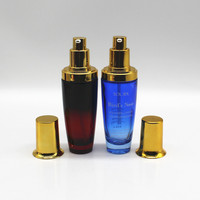 30ml 50ml Blue color printing glass bottle for brand cosmetic also accept clients OEM