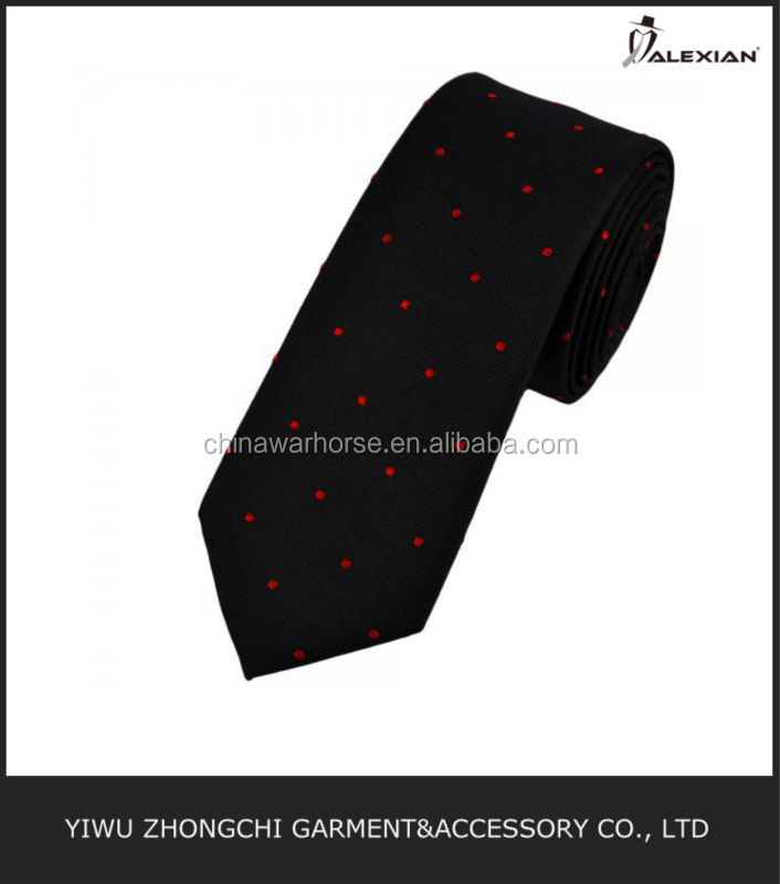 black and red polka dot famous brand tie