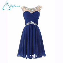 Plus Size A-Line Scoop Knee-Length Pleat Crystal Prom Dress