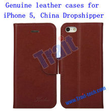 High Quality Magnetic Flip Stand Genuine Leather Cases for iPhone 5 Dropshipping