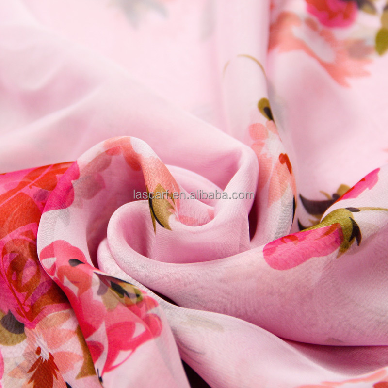 2015 fashion design pink chiffon scarf beautiful girl's scarf dress