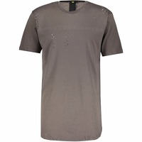Stylish Slate Round Neck Distressed Long Line T Shirt for Man