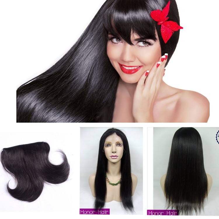 Natural color straight virgin human hair full lace wigs with bangs