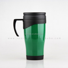 Custom non-spill coffee thermos plastic travel mug with handle and lid 14oz