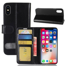 R64 Crazy Horse Grain Booking Wallet Leather TPU Soft Back Phone Case For Iphone X 8 7 6 6s plus 5 5s SE