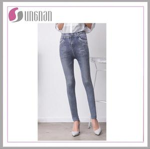 High elastic cold printing seamed tight fake jeans leggings for women