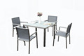 304 grade brushed stainless steel outdoor garden dining tables and chairs, garden set, ceramic table