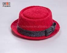 Cotton fisherman hat straw hat style flap top boater cap red color hat with bowknot