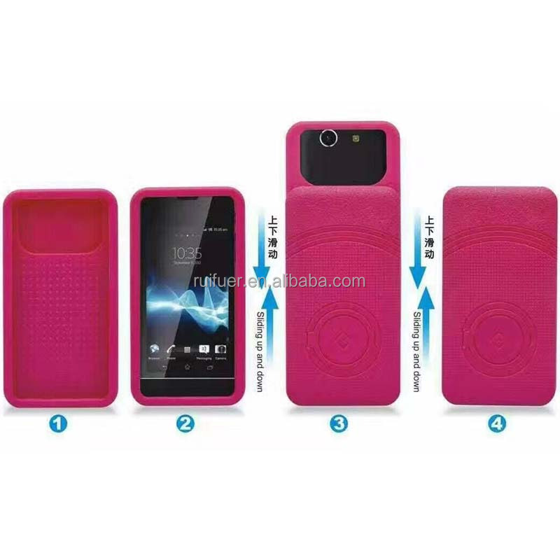 Wholesale Low Price Colorful Multifunctional Slide Universal PC Silicon 5.5 Inch Mobile Phone Case With Stand Ring