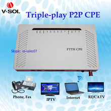 triple play Media converter 4GE 2POTS catv wireless Active Ethernet CPE