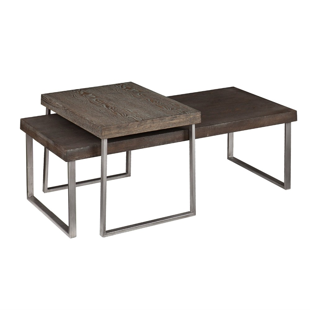 Piece nesting table <strong>oak</strong> furniture multifunctional coffee table in Burnt <strong>Oak</strong>