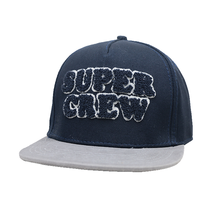 Fashion Custom Embroidery 6 Panel Leather Strap Super Crew Flat Brim Velvet Snapback Caps And Hats