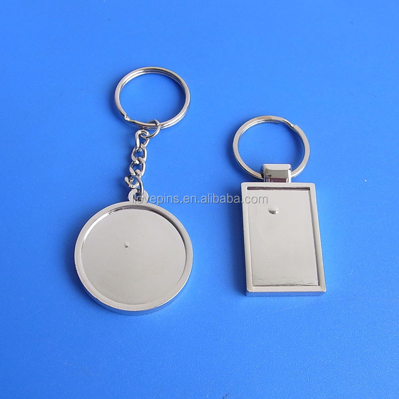 zinc alloy injection die casting sublimation blank keychain keyring