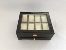 8 slots black wooden watch box with glass lid