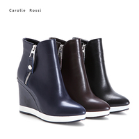 Sexy women ankle boots white sole wedge high heel boot lady fashion jockey boots