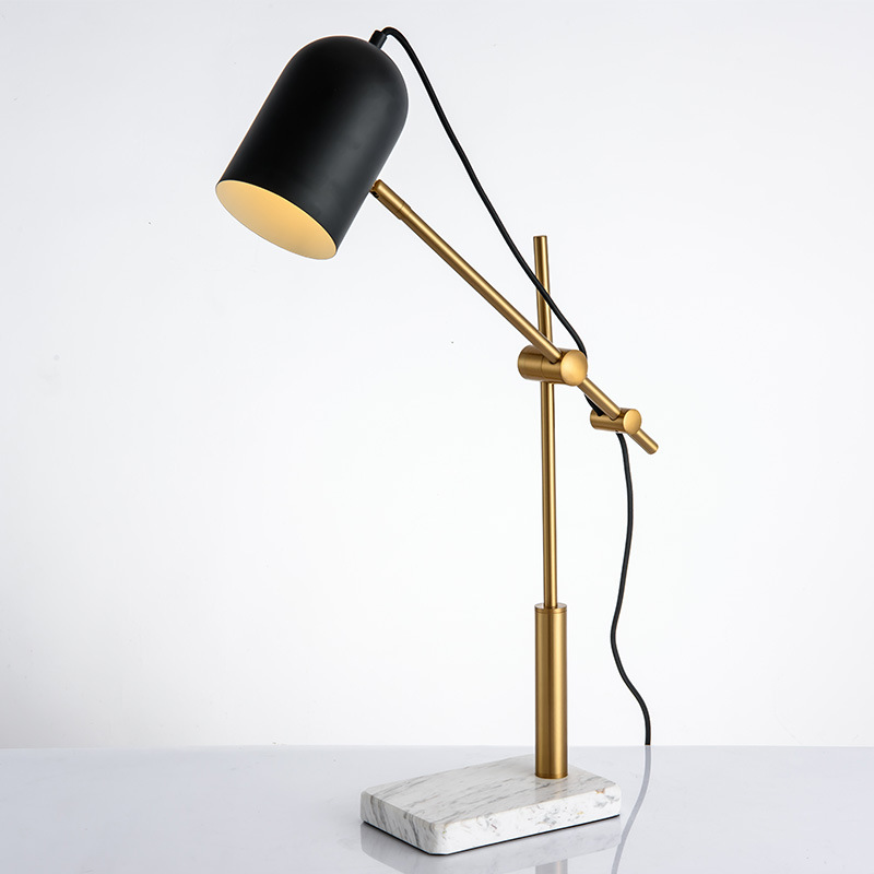 2020 Amazon explosion manufacturer new design steel marble table lamp living room lamp LED marble black long arm lamp