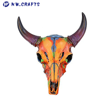 Hot Sale Wall Decor Items Colorful Western Small Size Faux Steer Bull Cow Painted Skull