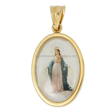 LOW MOQ Stainless Steel Catholicism Jewelry Wholesales Gold Plated Stainless Steel Enamel Patterns Mary Milagrosa Oval Pendant