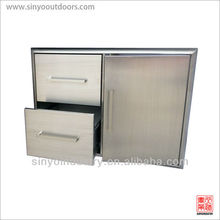 Built-In Grill Cabinet Door and Drawer Combination