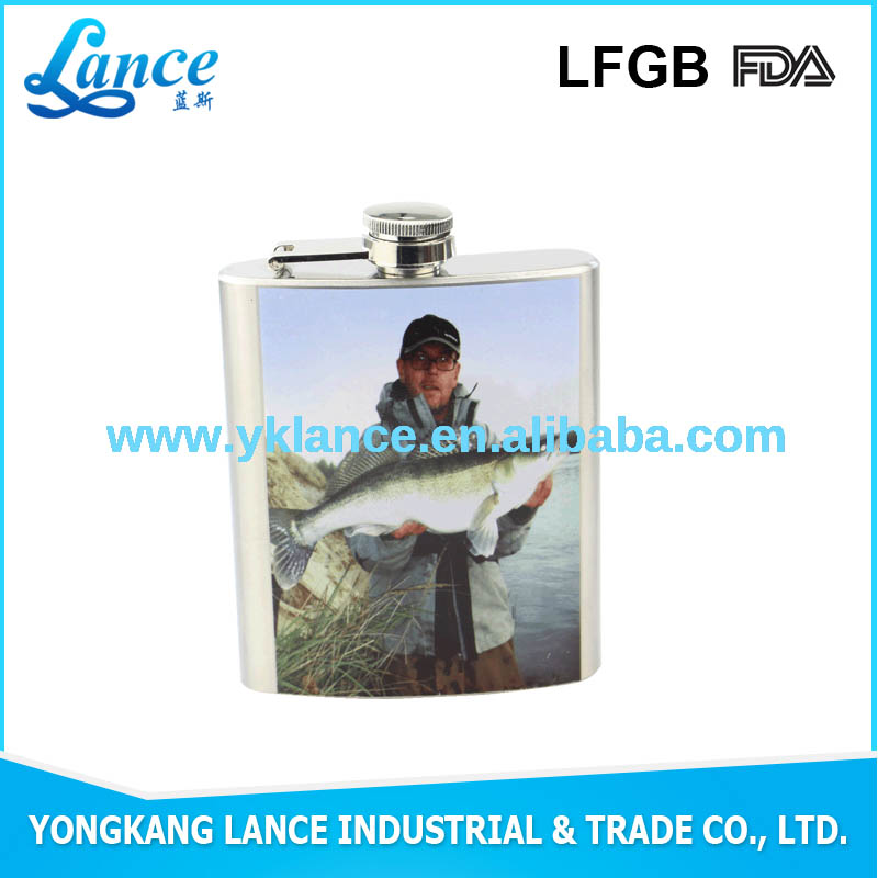 stainless steel jim beaml hip flask with color transfer printing PU leather wrap