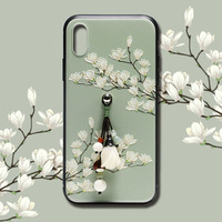 2019 amazon hot sell new products special designed Chinese traditional style phone case clear flower moboile phone cover case
