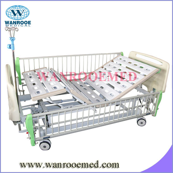 BAM220 two Cranks Manual Hospital Bed with lift up side rails
