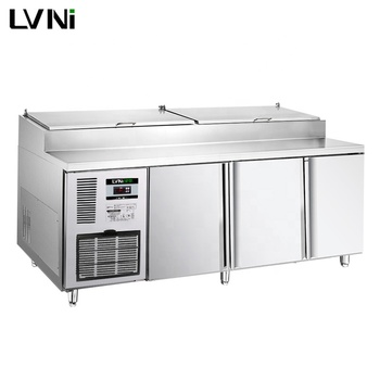 LVNI P series 1.8m refrigerated counter saladette pizza prep table with Embraco compressor