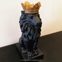 Resin Royal Crown Small Black Lion