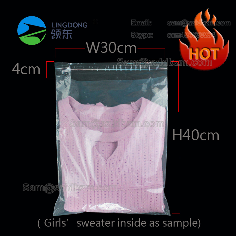 Hot sale size 30x40cm & 12''x16'' T-shirt clothing shoes poly <strong>PE</strong> self adhesive bag