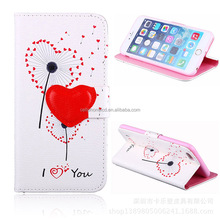 Lovely Painted Heart PU Leather Cover and Soft TPU Inner Holder Flip Stand Wallet Case for Samsung for Huawei for iPhone/LG/HTC