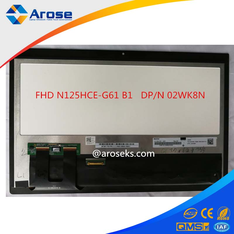 "LCD Display For Dell 12.5"" FHD N125HCE-G61 B1 DP/N 02WK8N Replacement"