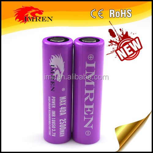 IMREN18650 2500mAh 40a battery fit for KSD mods 40A 18650 battery high pulse amp rating