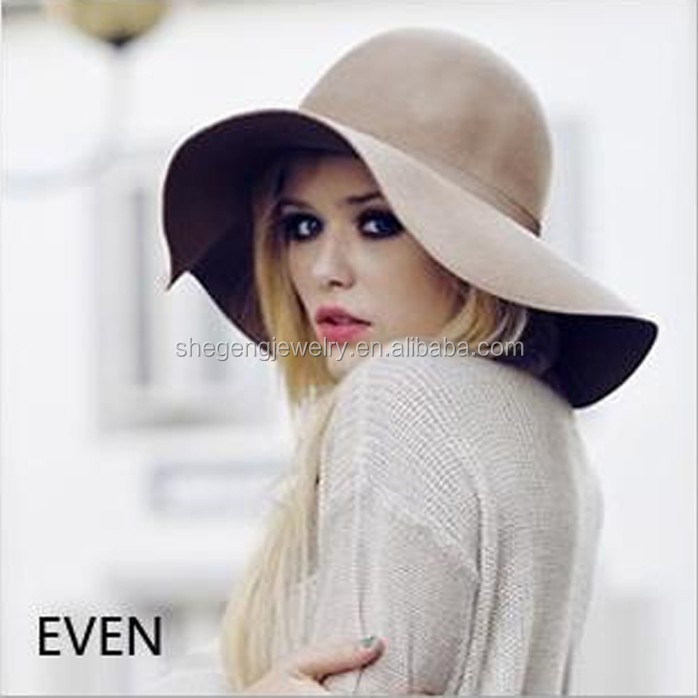 Fashion Vintage Women Ladies Floppy Wide Brim Wool Felt hat