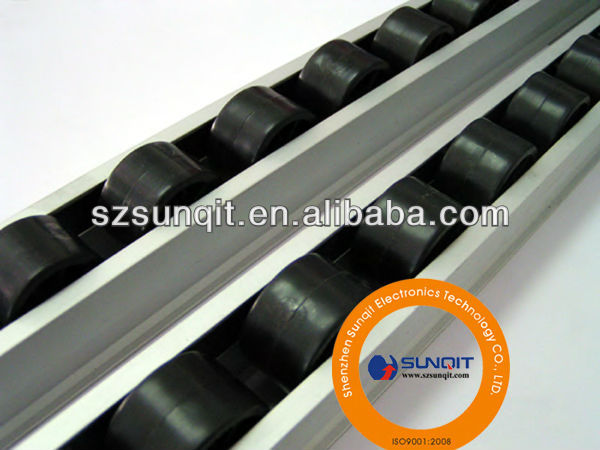 flow roller track support of fluent pipe rack system