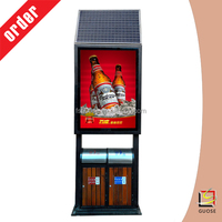 Advertising equipment scrolling solar power light box with waste bin price