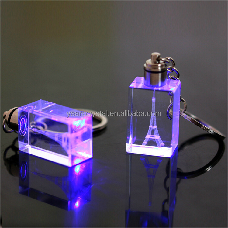 Led Light Crystal Keychains 3d Laser Engraved Glsss Key Chain for gift (R-0828)