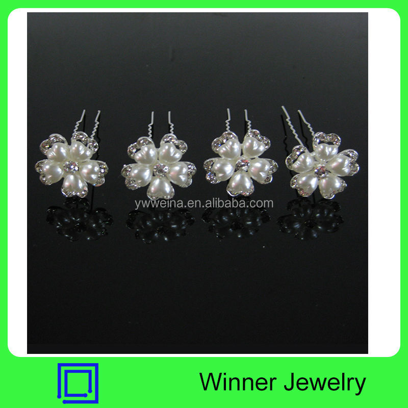 Shinning Crystal & Pearl Fashion Bridal Wedding Hairpins Jewelry Flower-shape Hairpins