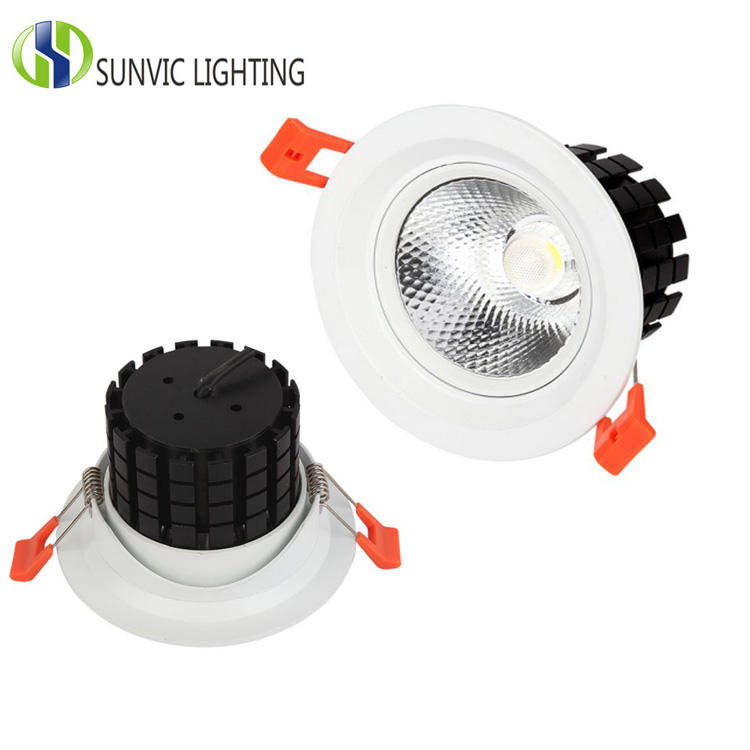 recessed round 7w 3 inch cutout 80mm led cob adjustable downlight