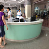 OEM acrylic solid surface with green color reception desk
