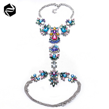 Factory Price High Quality Colorful Crystal Vibrating Body Piercing Sexy Waist Chain Jewelry
