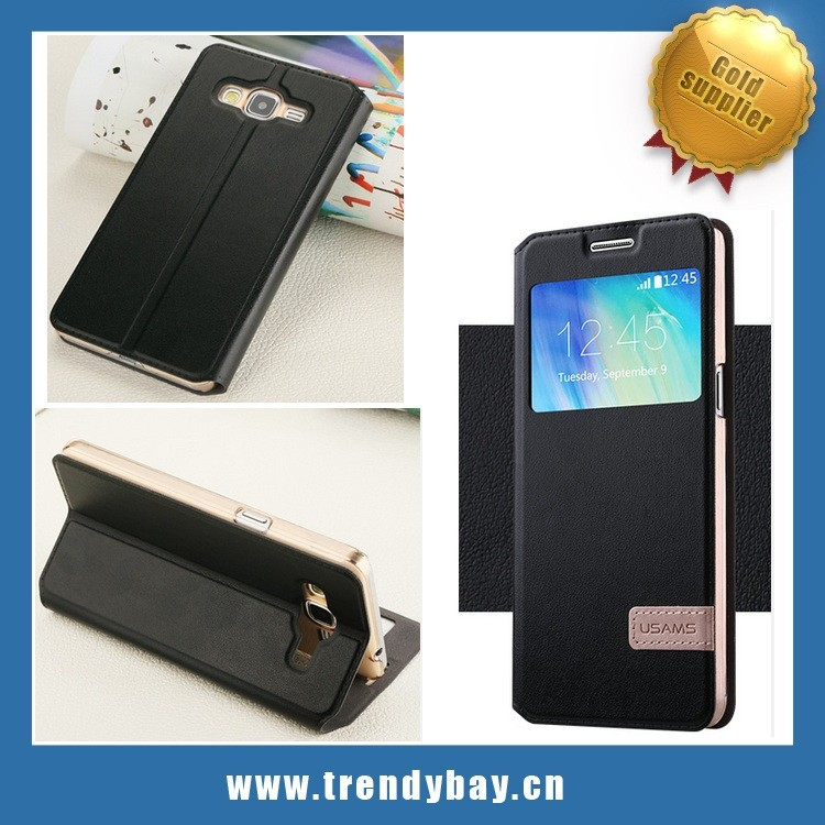 High quality Usams brand leather stand case for samsung A3 with sleep funtion