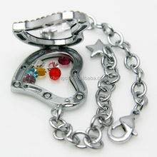 Crystal heart shape locket bracelet, high quality charms and locket made in China