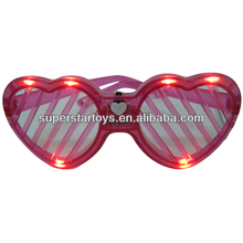 heart flashing party glasses, 6LED single color heart window shade flash glasses