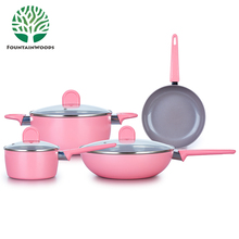 2017 Hot Sell Chinese 7 Pcs Aluminum Non Stick Forged Pink Pots and Pans